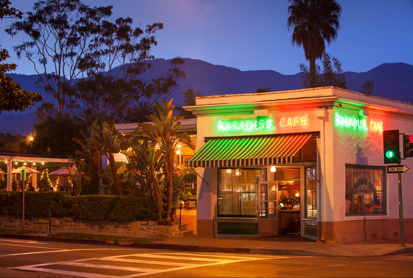 Paradise Cafe at night, Santa Barbara, California