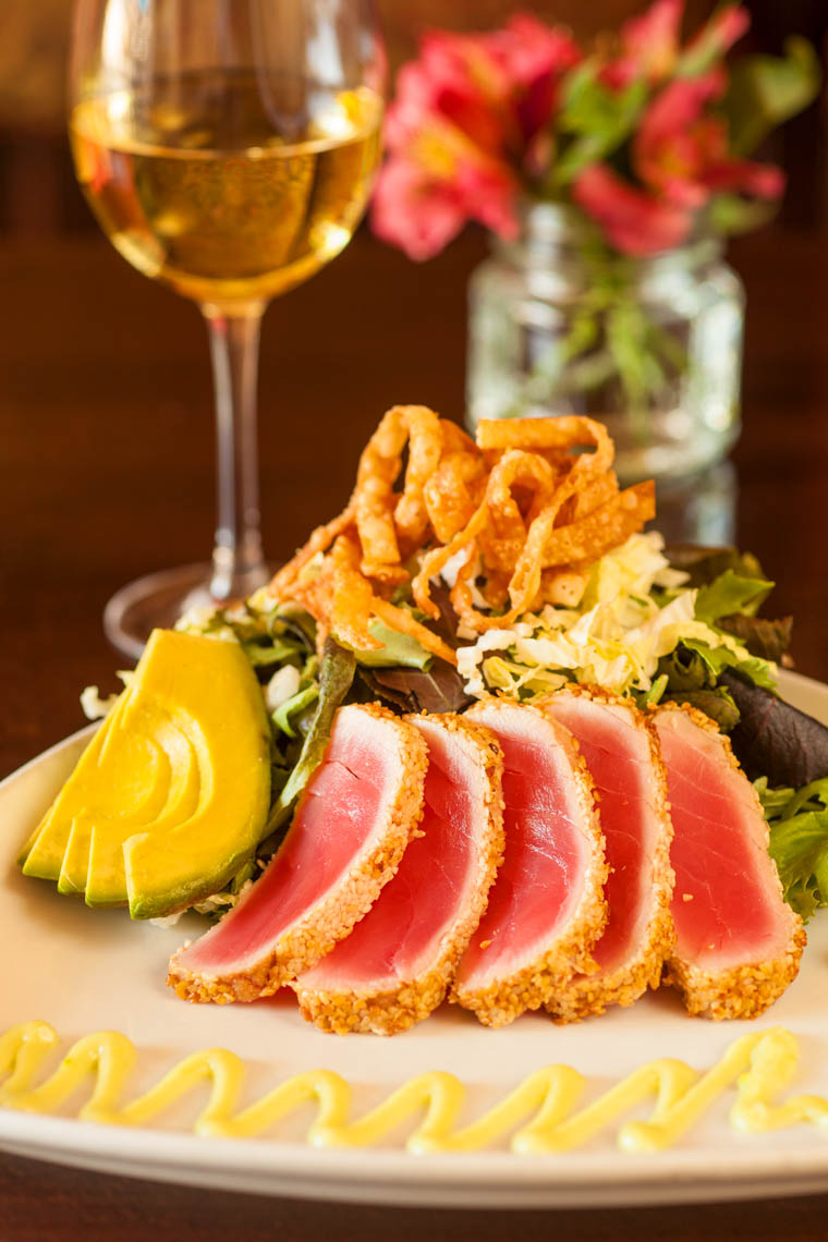 Sesame Crusted Seared Ahi with Baby Greens